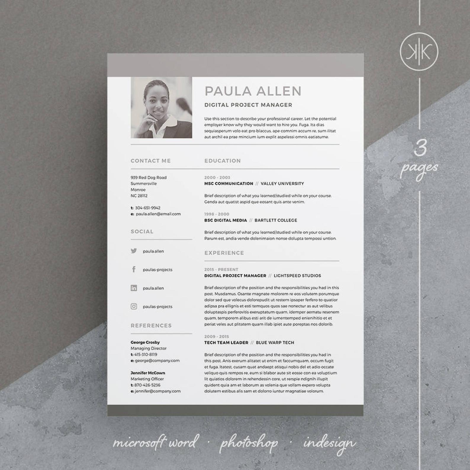 Paula Resume/CV Template Word InDesign Etsy in