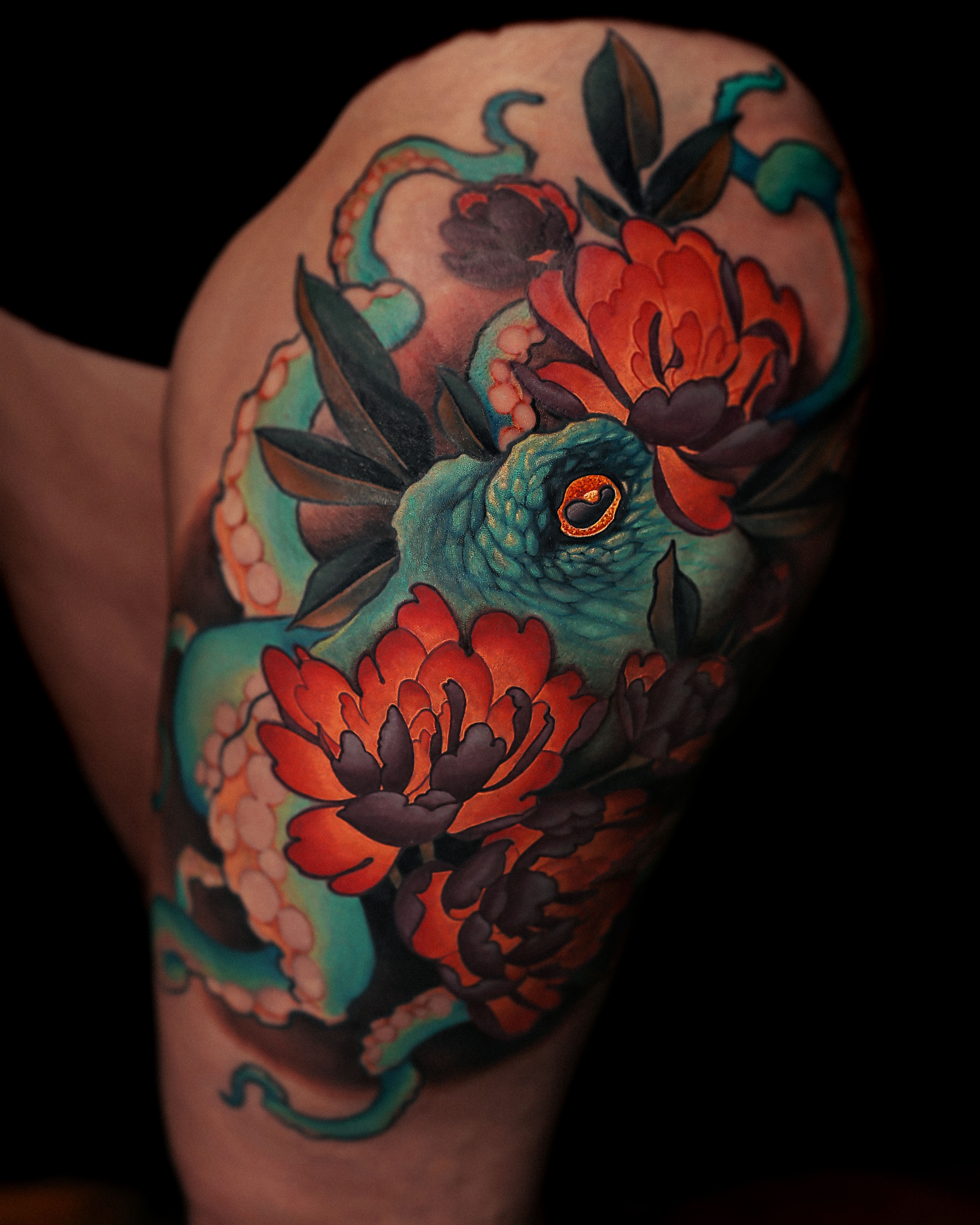 Octopus And Peonies