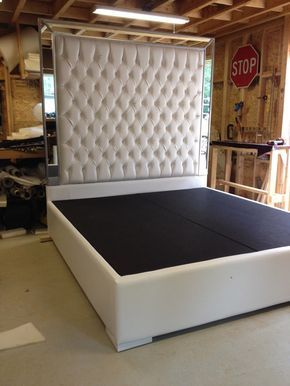 White Faux Leather King Size Platform Bed Queen Tufted Upholstered With Mirrors Headboard Extra Tall