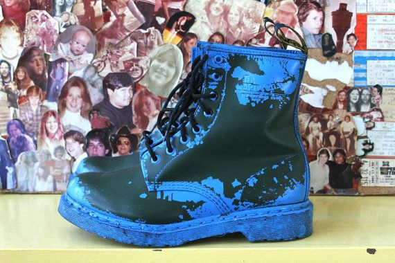 olive / blue spray painted DOC MARTEN boots door BonyPonyTrappings