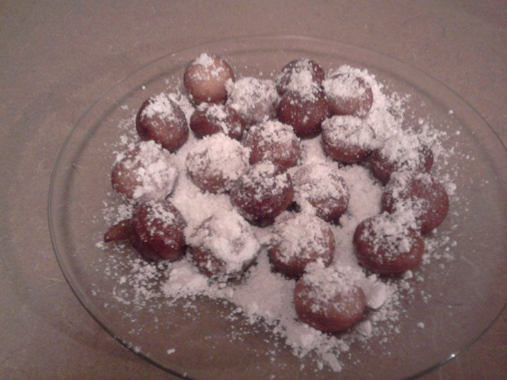 Homemade Zeppoles Lay Out Pillsbury Buttermilk Biscuits Using Small Cookie Cutter Cut Out Center