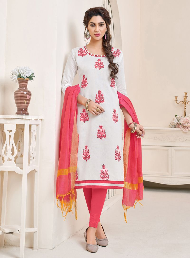 c0154dcefa Buy Off White Cotton Churidar Salwar Kameez 139615 online at lowest price  from vast collection at m.indianclothstore.c.