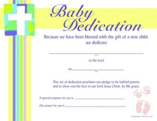 Baby Dedication Certificate Cross Hands  Feet Design Package Of