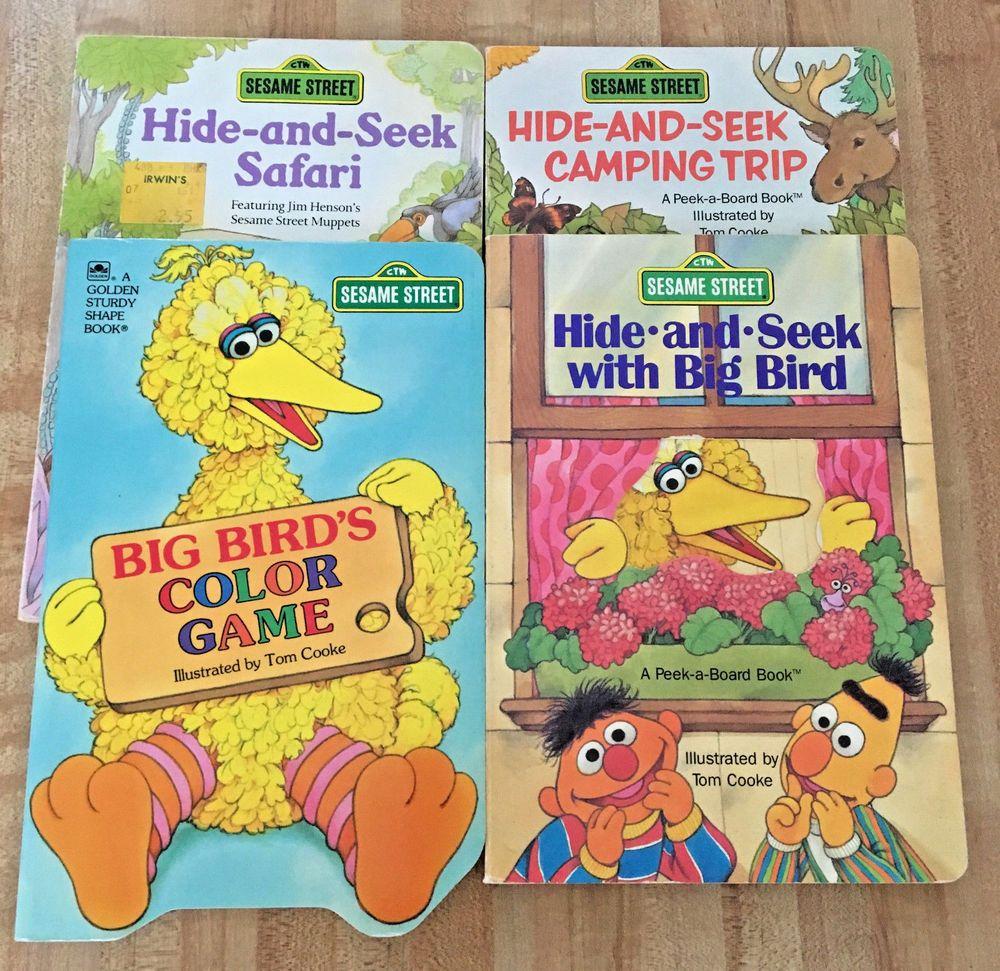 Lot of 4 sesame street bert ernie big bird board books hide seek colors