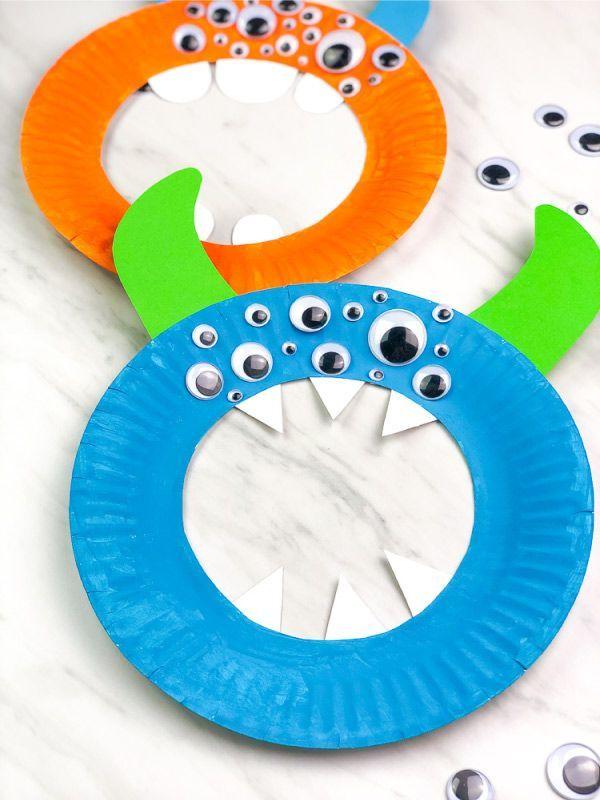 Easy Paper Plate Monster Craft For Preschool #fallactivitiesforkids