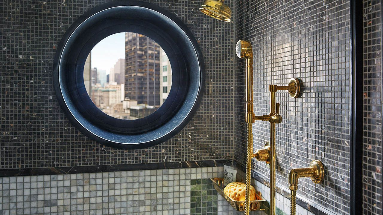 Viceroy Park Suite Bathroom Stone Mosaic By Dds Round Mirror Bathroom Art Deco Bathroom Interior Design New York
