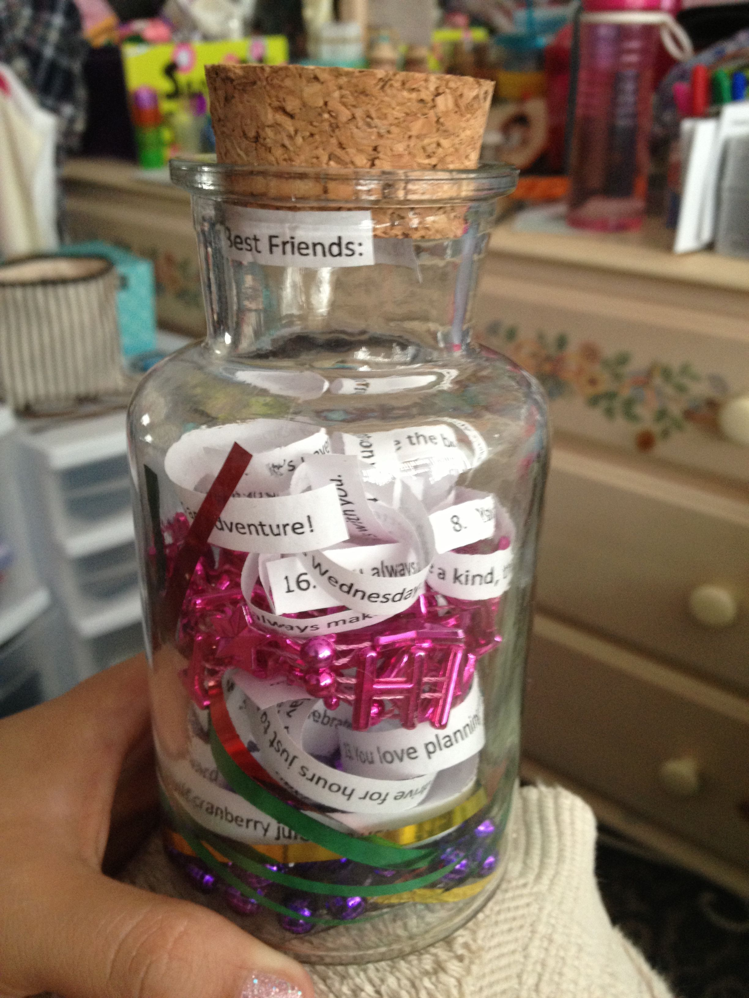 22 reasons you're my best friend in a corked glass bottle for a 22nd