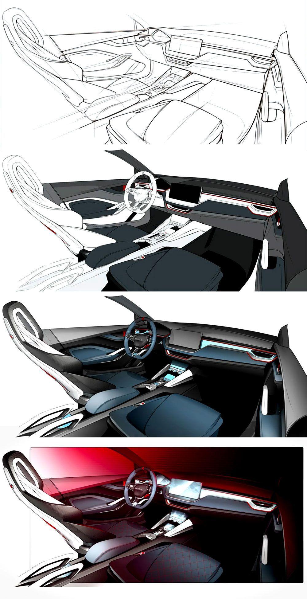 Interior design sketch of the škoda vision rs concept skoda cardesign designsketch carinterior conceptcar parismotorshow carbodydesign