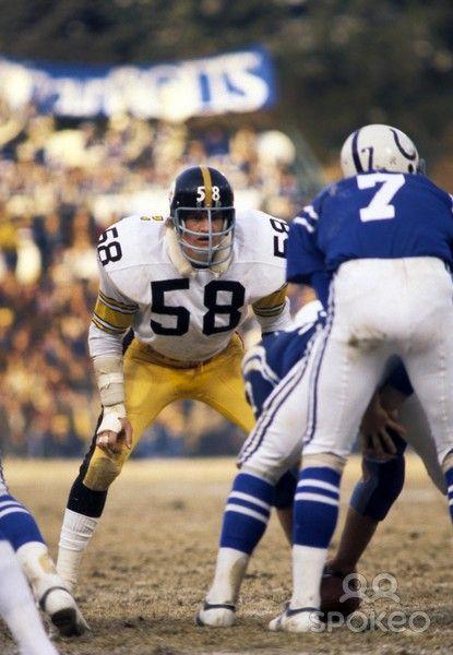 Steeler linebacker Jack Lambert stares at Colts QB Bert Jones ... 74e268b67b21