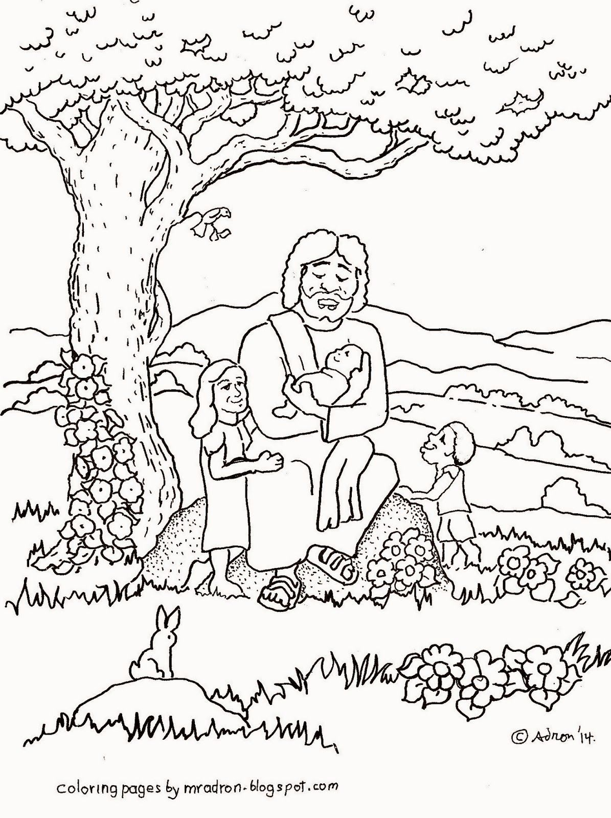 Jesus Blesses The Children Free Coloring Page Mark 10 13