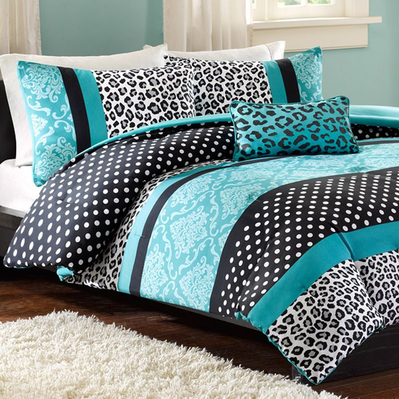 Mizone Chloe Twin Comforter Set Teal Leopard Twin comforter sets