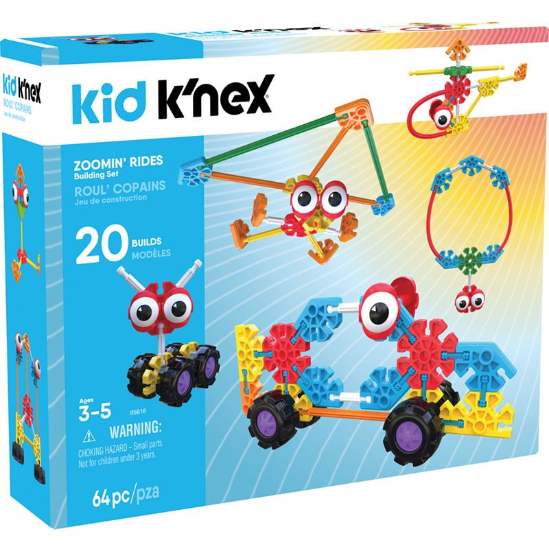 Kid Knex Zoomin Rides Building Set 65 Pieces Ages 3 And Up Preschool Education Toy Building For Kids Educational Toys Building Toys