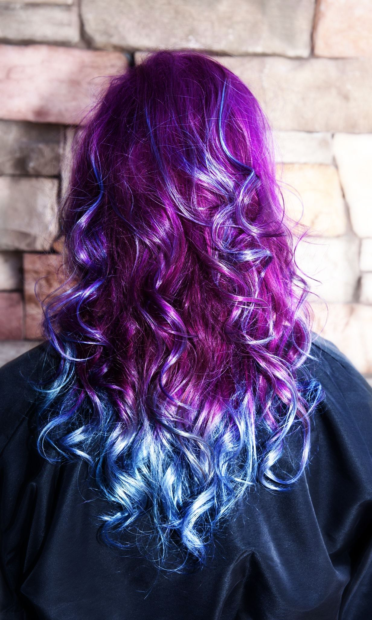 Blue and purple ombre by jennifer flores warner platinum hair studio