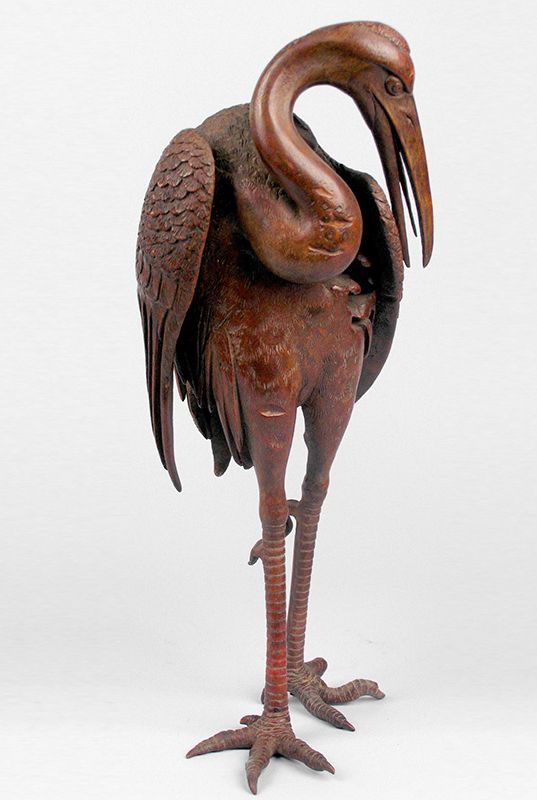 Large Standing Cranes Stencil: Okimono Or Sculpture In The Form Of A Large Standing Crane