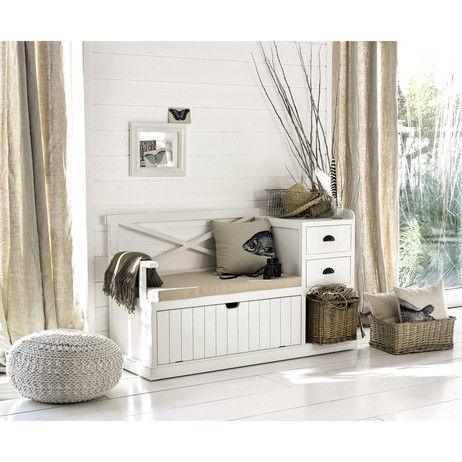 Meuble D Entree En Bois Blanc L 135 Cm Freeport Meuble Entree Idees De Meubles Mobilier De Salon