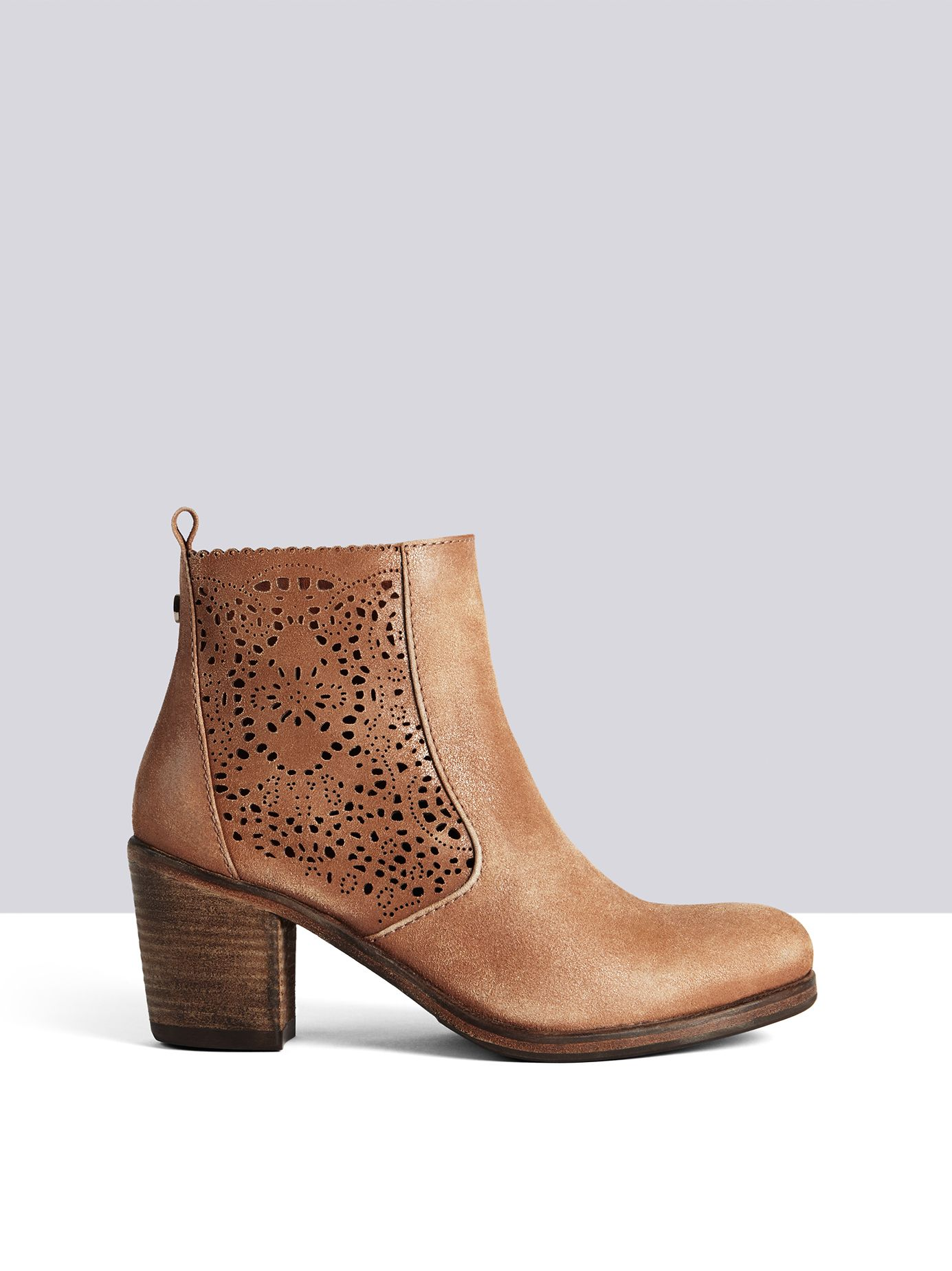 Tan leather ankle boots with stunning laser cut leather detailing. Style: Swift - Ted&Muffy, fairytale fitters.