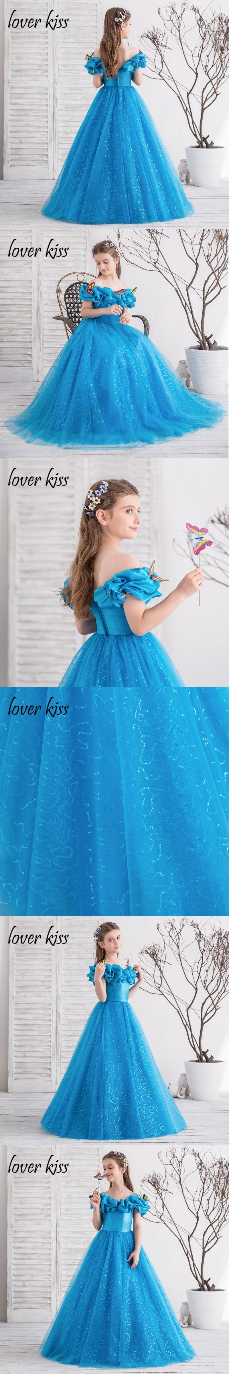 Lover Kiss 2018 Flower Girls Dress Blue Off Shoulder Kids Birthday ...