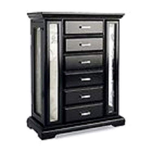 NEW Wood Jewelry Box Armoire Storage Organizer Mirror 5 Drawers Tabletop