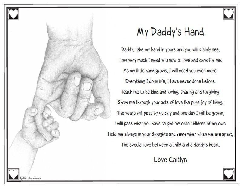 Keepsake Personalized Daddy's Hand Poem Quote Saying