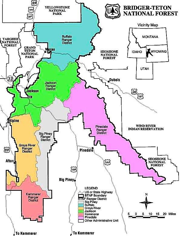 Bridger Teton Map Cottonwood Lake