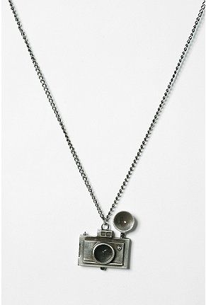 Camera clock pendant necklace