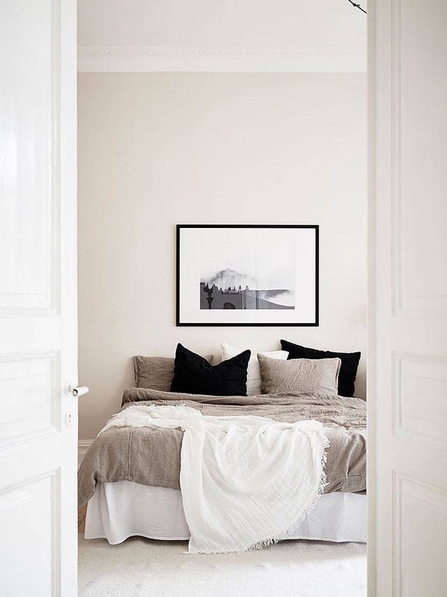 Chambre beige couleur lin et taupe deco chambre room parents blanc
