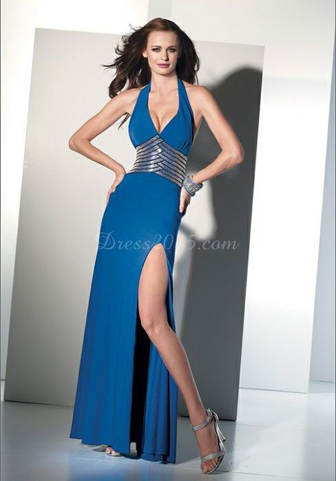 Chiffon Halter With Paillette Split Front Prom Dress