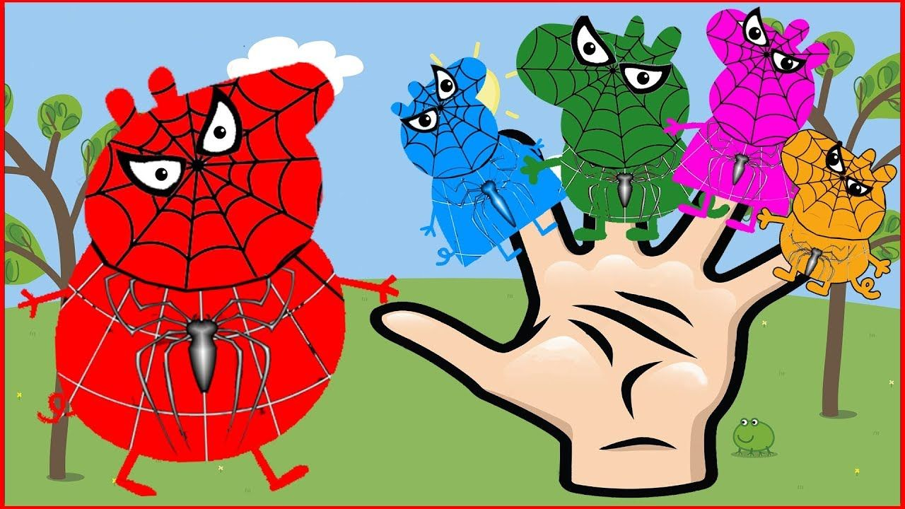 Colors Learn Finger Family Nursery Rhyme Peppa pig Spider man Finger ...
