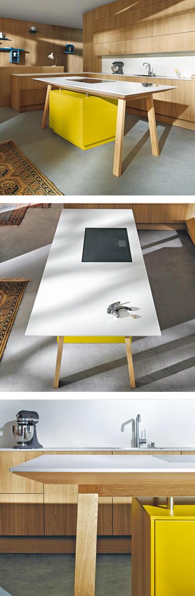 gelbe designer k che mit k cheninsel in tischform designer k che pinterest k cheninsel. Black Bedroom Furniture Sets. Home Design Ideas