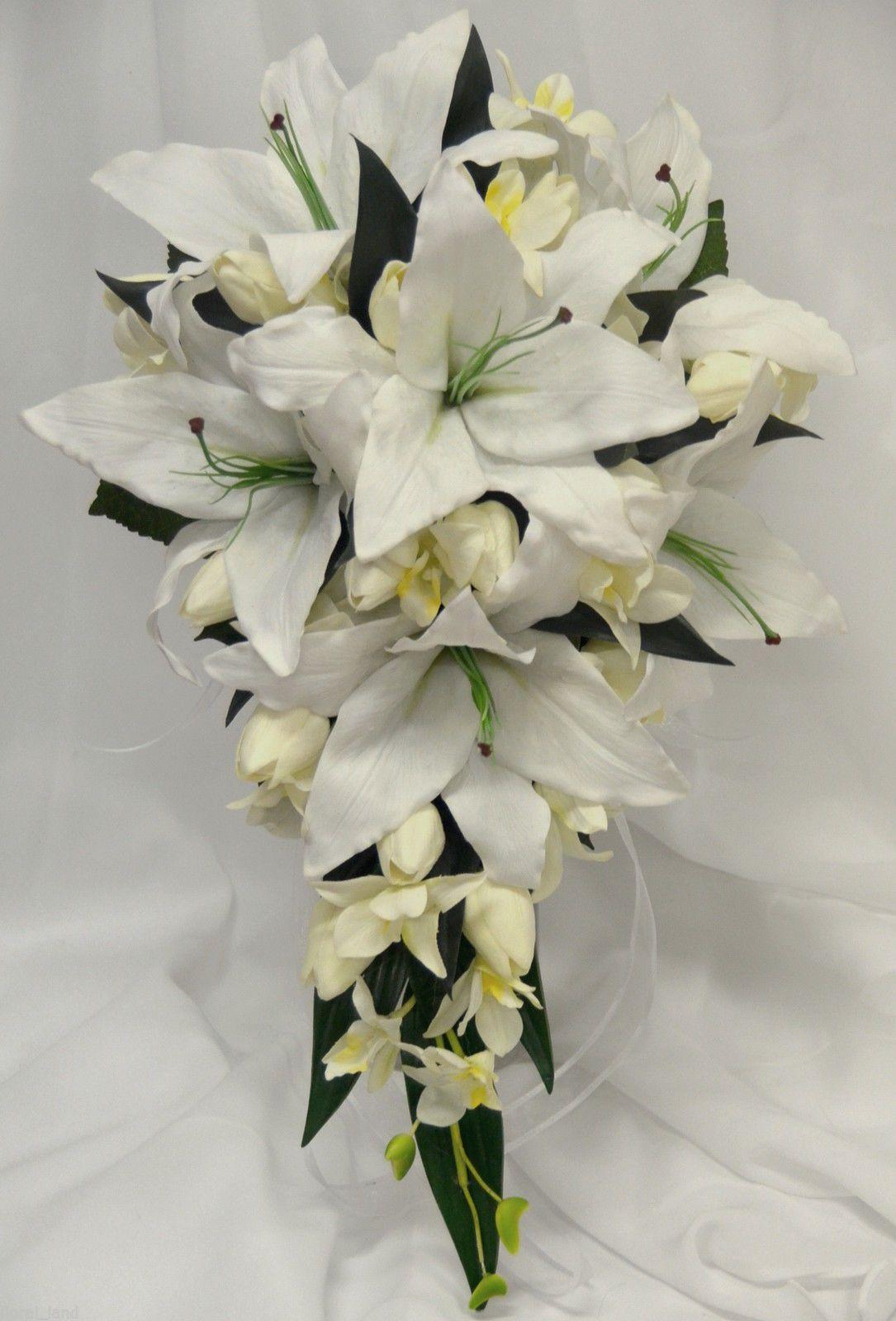 Silk wedding bouquet latex white oriental lily cream tulips orchids ...