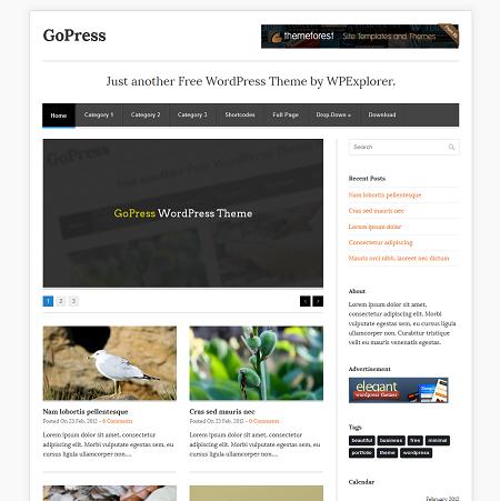GoPress - Free WordPress Theme | Templates/Themes | Pinterest