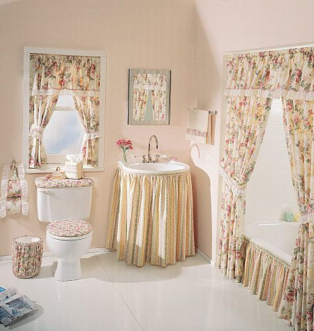 Bathroom Essentials Pattern - McCall's Home Decor Pattern 2721 - Shower Curtain, Sink Skirt and More. $8.00, via Etsy.