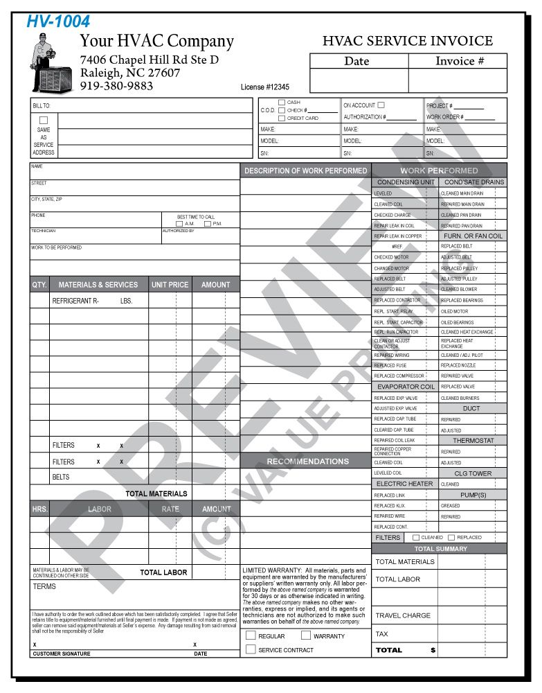 HV HVAC Time Materials Work Order Invoice Value - Time invoice template