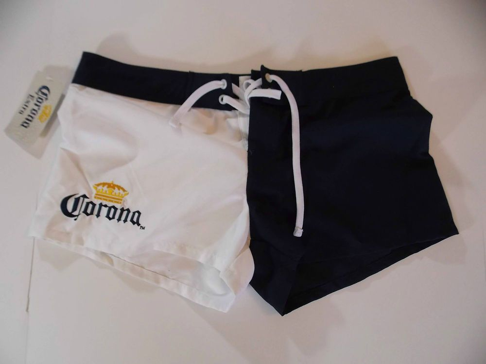 1d8daa64be Large Womens Corona Extra Embroidered Booty Beach Swim Shorts Beer Blue  White T2 #Corona #Shorts