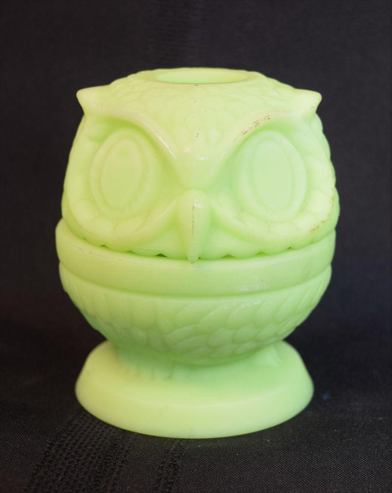 VINTAGE FENTON VASELINE GLASS JADE GREEN OWL FAIRY LAMP