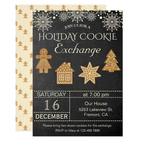 Chalkboard Holiday Cookie Exchange Party Invite in 2018 Christmas