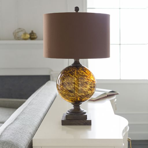 Surya S Belgrave Table Lamp Has A Tortoise Glass Body With A Brown