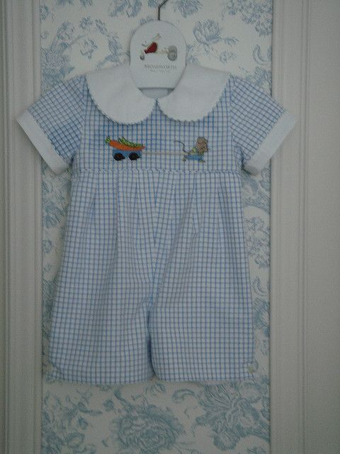 precious romper.. Mallory it is made simiar to this but long legged, and has a tractor and farmer and somthing else emborided on it