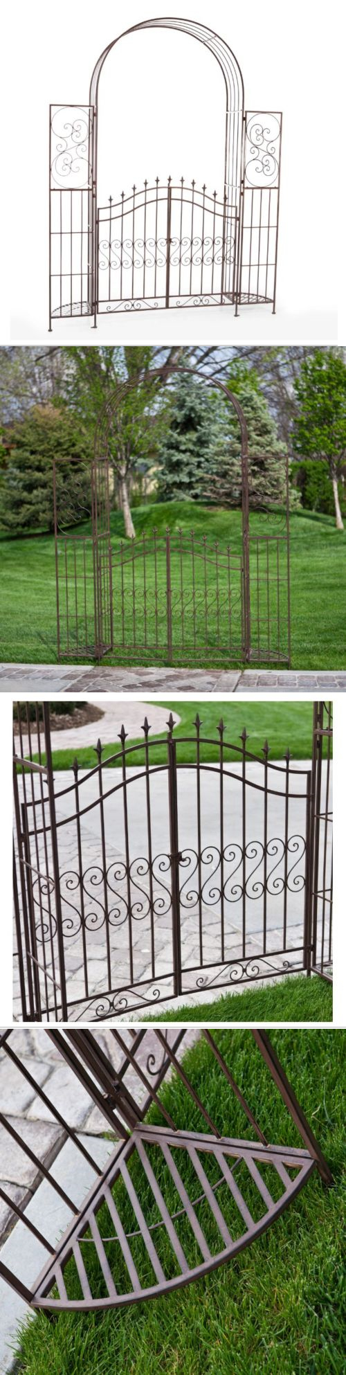 Garden decor trellis  Arbors and Arches  Garden Arbor With Gate Trellis Plant Stand