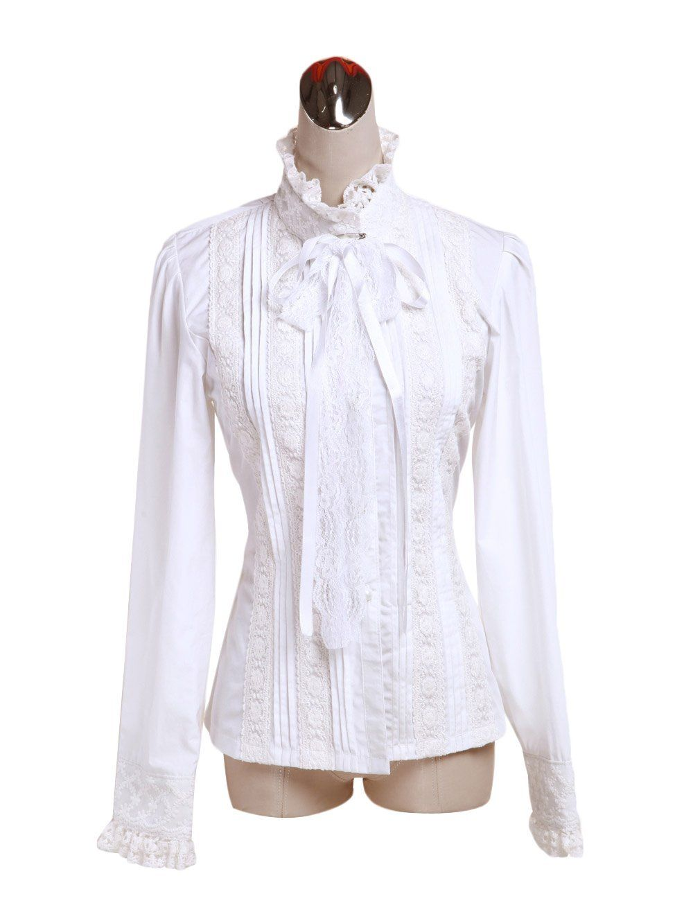 1d671633617b1d Amazon.com: ZKCostume Women's Cotton White Lace Ruffle Gothic Standing  Collar Victorian Shirt Blouse: Clothing