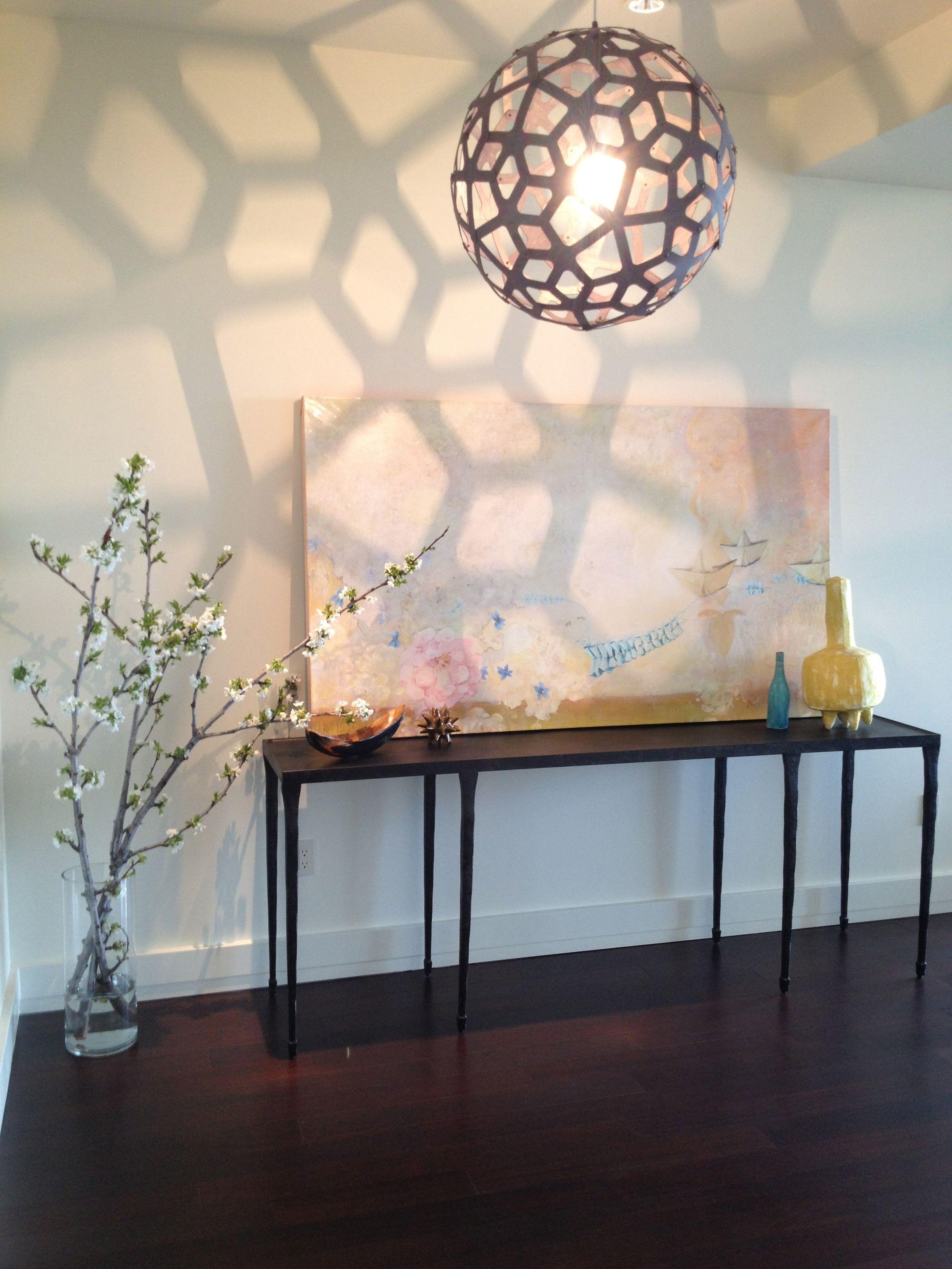 15 Entrance Hall Table Styles To Marvel At: The David Trubridge Pendants Cast Amazing Shadows & Light