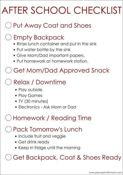 simple to use after school checklist for kids