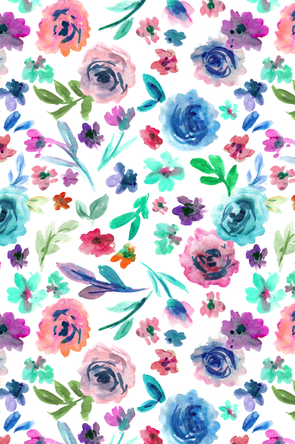 White Background Bright Watercolor Flower Seamless Pattern For