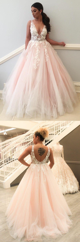 Charming prom dresses aline straps vneck lace blush pink long prom
