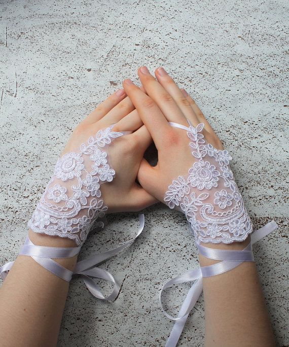 Bridal white gloves or barefoot sandals fingerles by semajewelry