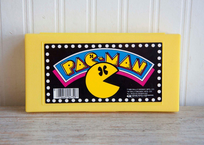 80s Vintage Pac-Man Pencil Case, Retro Video Gaming