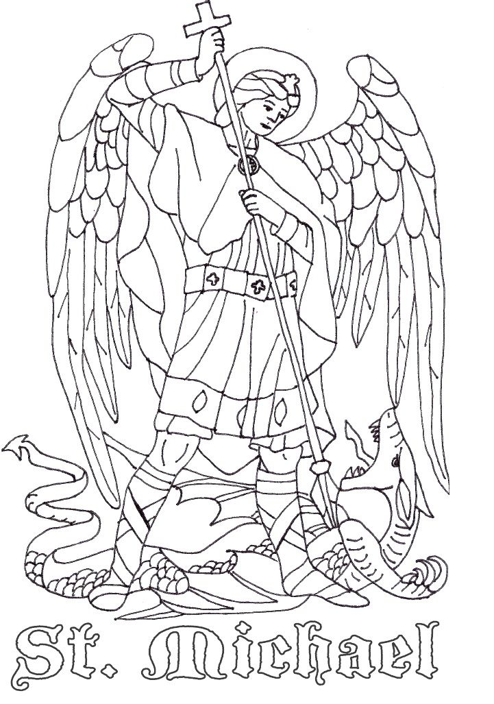 St Michael the Archangel Catholic Coloring Page | Catholic Coloring ...