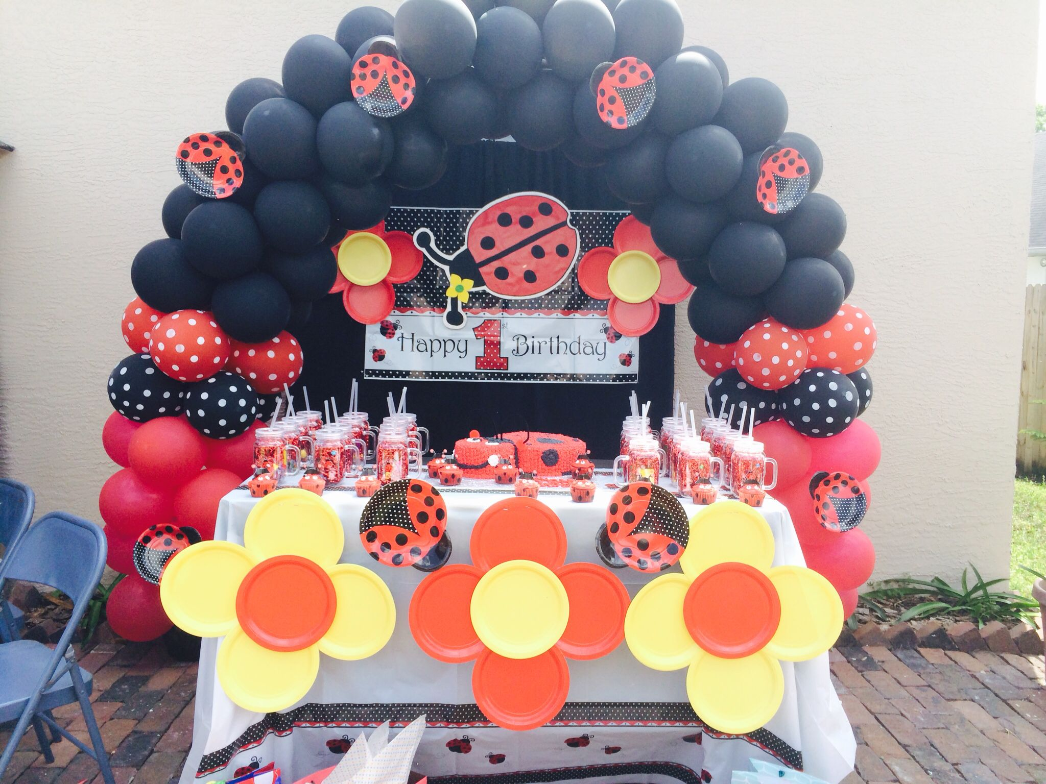 Lady bug Bellau0027s first birthday yellow black red ballon frame arc cake wall decor flow paper plates favors & Lady bug Bellau0027s first birthday yellow black red ballon frame arc ...