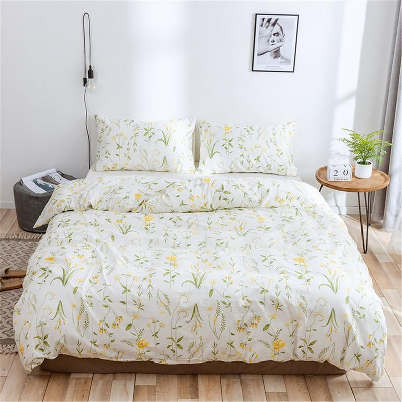 White Floral Duvet Cover 100 Cotton Comforter Cover Artistic Etsy In 2020 Floral Duvet Cover Floral Duvet Comforter Cover
