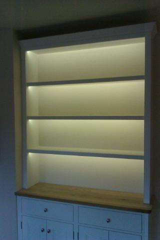 led tape lighting to dresser cabinet  shelves